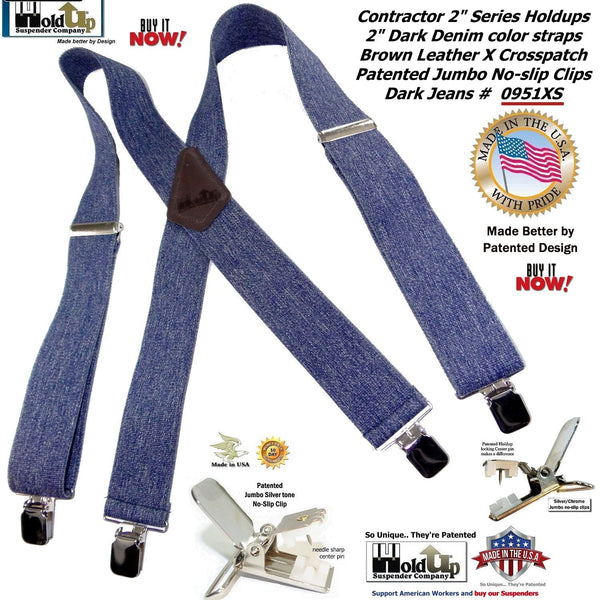 Holdup Brand Heavy Duty Dark Denim Work Suspenders with Patented Silver Tone no-slip clips