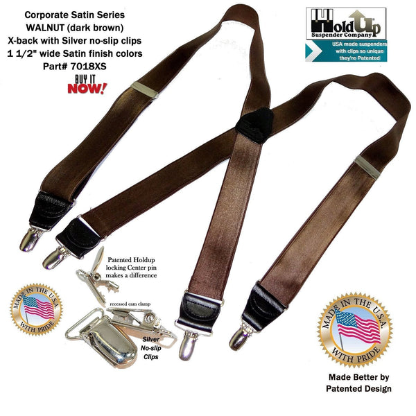 "Holdup Suspender Company's 1 1/2"" rich Walnut Brown Satin Finish Suspenders in X-back with Patented No-slip Silver Clips"