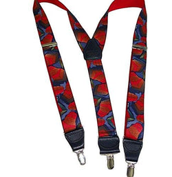 "Holdup Collage Pattern 1 3/8"" wide Designer Y-back Suspender with patented no-slip silver Clips"
