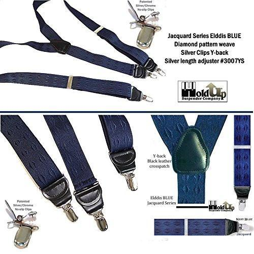 "Hold-Ups Elddis Blue Jacquard 1 1/2"" wide in Y-back style and patented No-slip Nickel Clips"