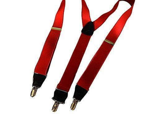 "Hold-Ups Regal Red 1 1/2"" Wide Satin Finish, Y-back Suspenders with Patented No-slip Silver Clips"