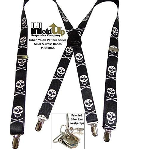 "Hold-Ups Urban Youth Skull pattern 1"" wide Suspenders in X-back with No-slip Silver Clips"