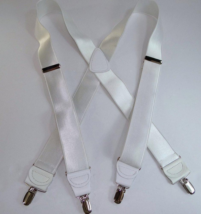 "Holdup Brand ""White House"" 1 1/2"" wide Suspenders in X-back style with Patented No-Slip Silver tone Clips"