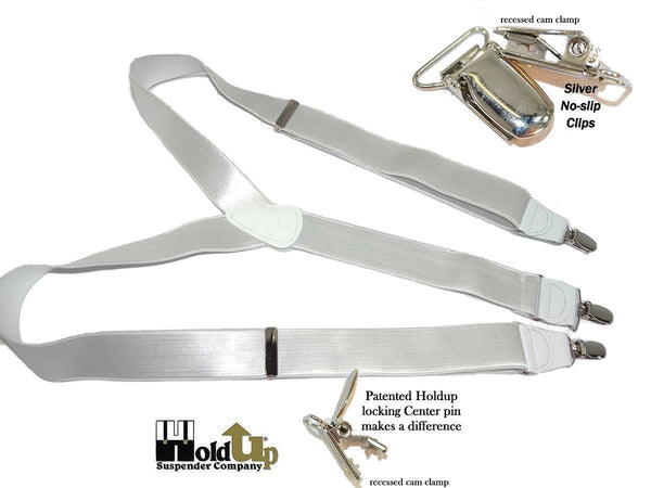 "Hold-Ups ""White House"" 1 1/2"" wide Suspenders in Y-back with Patented No-Slip Silver Clips"