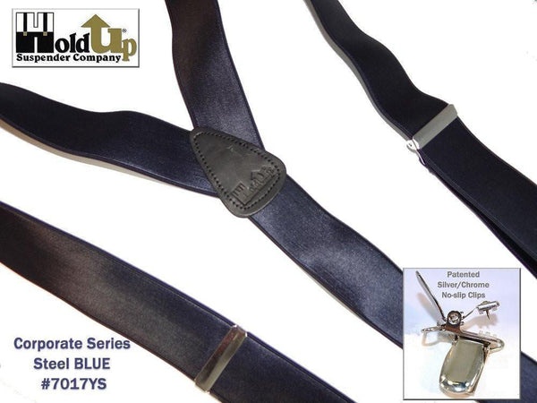 "Hold-Ups Steel Blue 1 1/2"" Wide Satin Finish Suspenders Y-back with Patented No-slip Silver Clips"