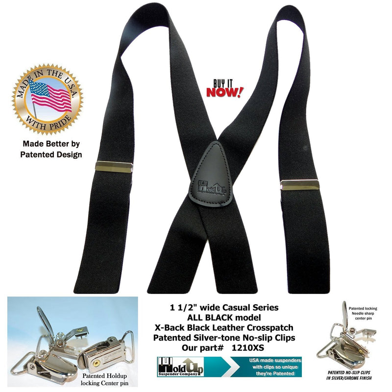 "Holdup Brand All Black 1 1/2"" wide X-back Suspenders with Patented No-slip Silver tone Clips"