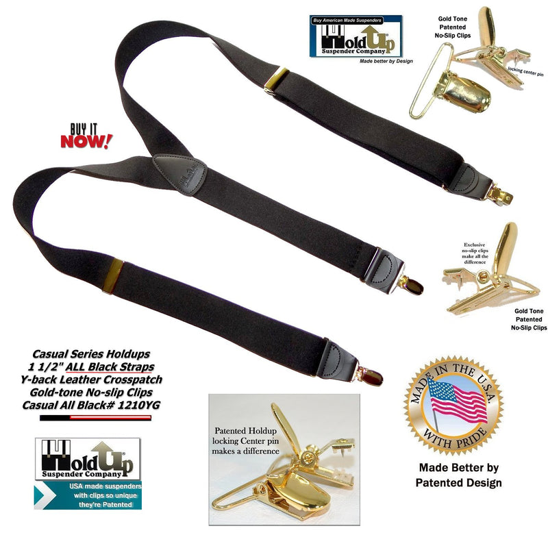 Hold-Ups Y-back All Black Casual Series Suspenders Patented No-Slip Gold Clips