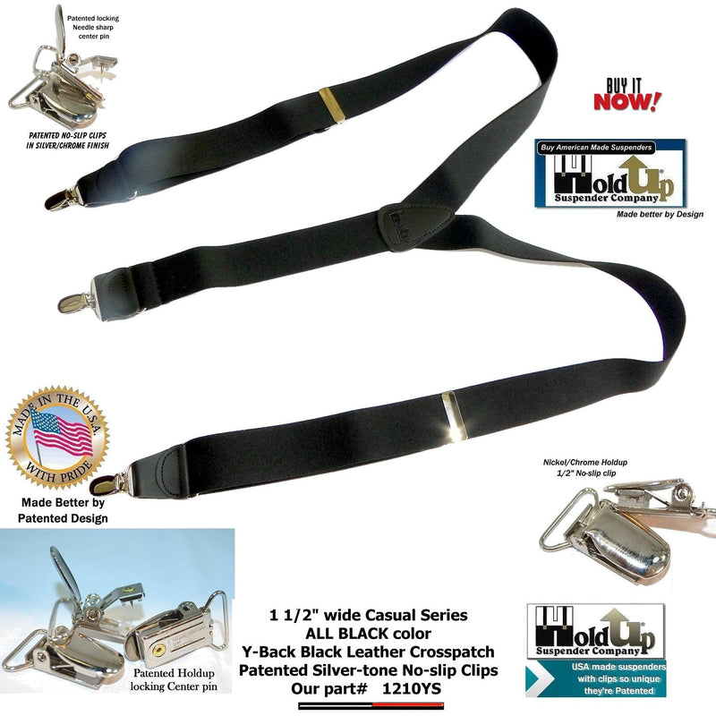HoldUp Brand All Black Casual Series Y-back Suspenders with patented silver No-Slip clips