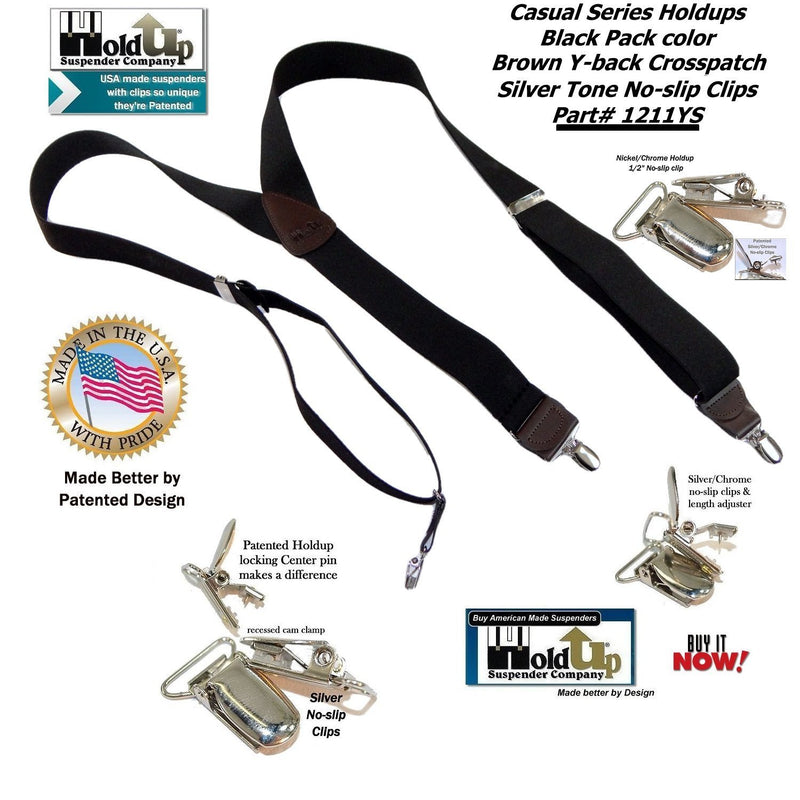 "Holdup Suspender Company's Black Pack Casual Series 1 1/2"" wide Y-back Suspenders with Patented No-slip Nickel Clips"