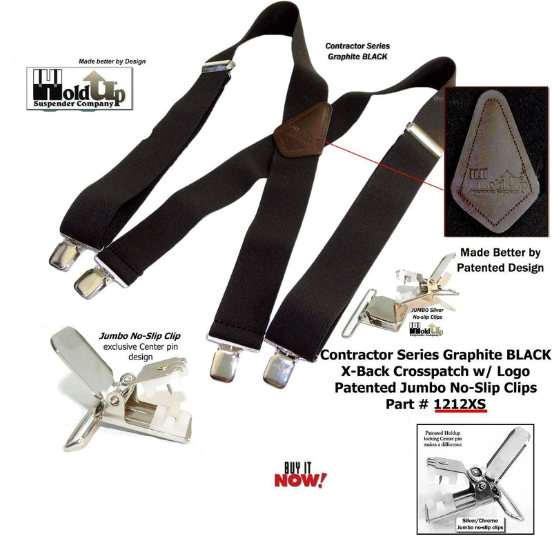 Holdup Suspenders in Wide heavy duty Graphite Black color are USA made in X-back Style with Patented No-slip Jumbo Silver Clips