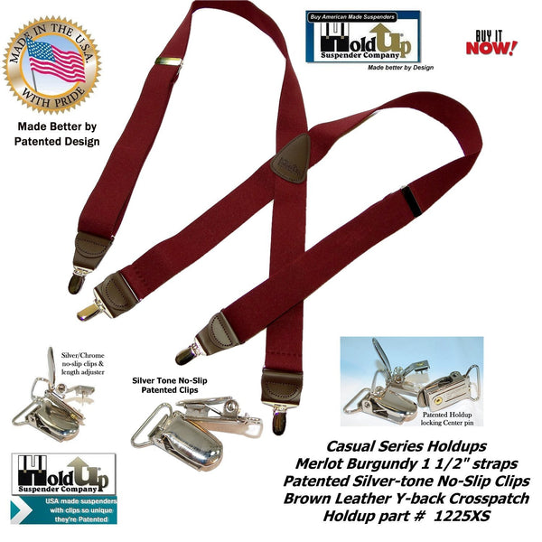 "HoldUp Brand USA made Merlot Burgundy 1 1/2"" wide suspenders in X-back style with No-slip Silver-tone clips"