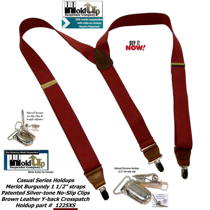 Holdup Suspender Company's deep Merlot Burgundy colored clip-on suspenders in Y-back with Patented No-slip silver-tone clips
