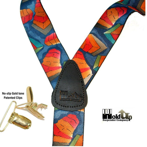 Holdup Brand Collage Pattern Y-back Suspenders with Patented No-slip Gold-tone Clips