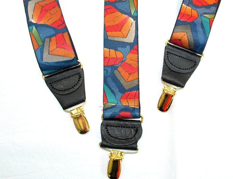 "Hold-Ups Collage Pattern Suspenders 1 3/8"" wide Y-back style and Patented No-slip Gold Clips"