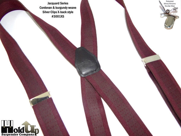 HoldUp Brand Cordovan Burgundy Tone-on-tone Jacquard Weave Suspenders with No Slip Silver Clips