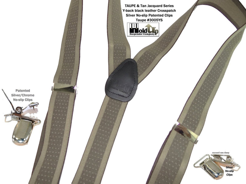 "Hold-Ups Taupe Jacquard 1 1/2"" Wide Suspenders in Y-back Style and Patented No-slip Silver Clips"