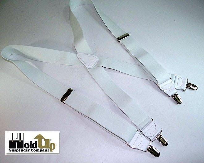 "Hold-Ups All White, 1 1/2"" wide Casual Series in X-back with Patented No-slip Nickel chrome clips"