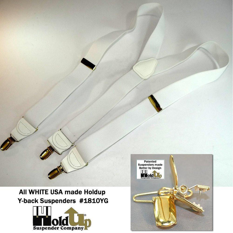 "Hold-Ups Y-back All White Casual Series 1 1/2"" wide Suspenders with Patented No-slip Gold Clips"