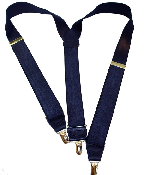 "Hold-Ups Steel Blue 1 1/2"" Wide Satin Finish Suspenders Y-back with Patented No-slip Gold Clips"