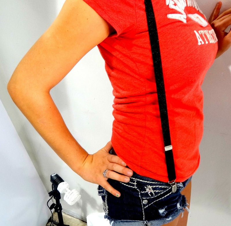 "Holdup Urban Youth Black Glitter 3/4"" wide Y-back Suspender with silver no-slip clips"