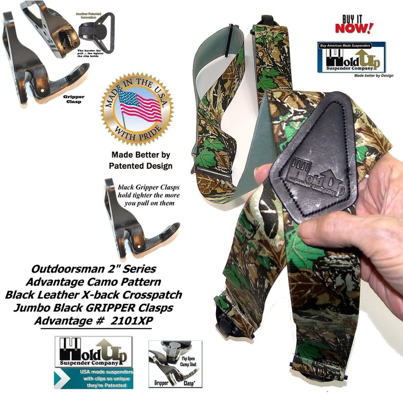 Holdup Brand USA made Advantage Pattern Camouflage Hunting Suspenders with Patented Jumbo Black Gripper Clasps