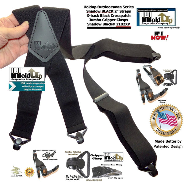 X-back Holdup Shadow Black Suspenders in 2 inch width are USA made heavy duty Suspenders with Patented Gripper Clasps