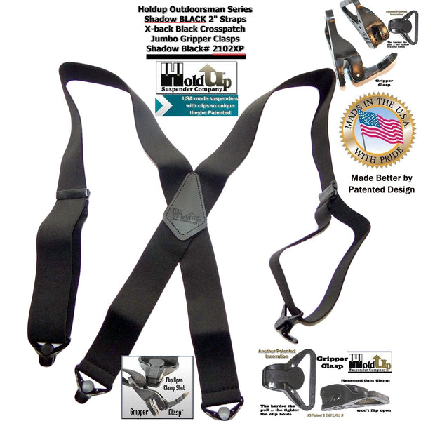 X-back Holdup Shadow Black Heavy Duty Work Suspenders with jumbo Patented Gripper Clasps