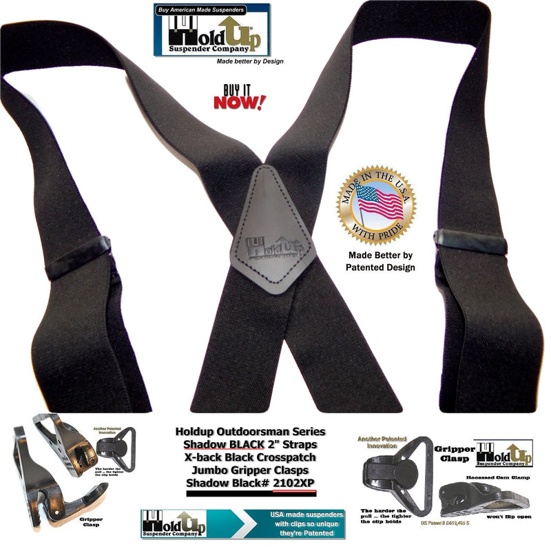 Holdup Shadow Black Outdoorsman Series X-back Suspenders with Patented Gripper Clasps