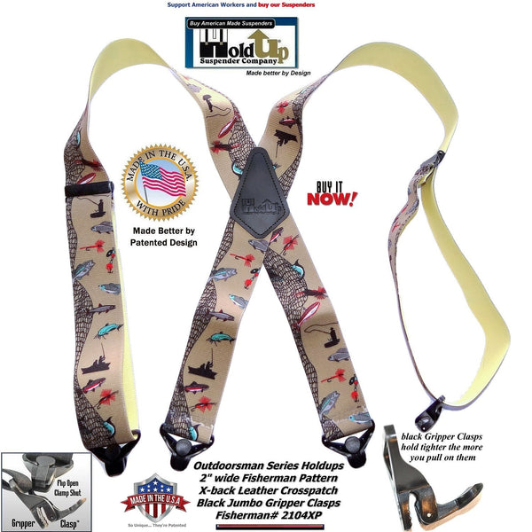 Holdup Brand FishTales Pattern Outdoorsman Suspenders with Patented Jumbo Gripper Clasps