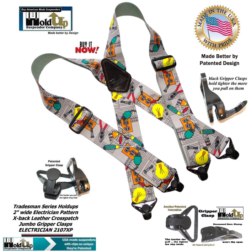 "Electrician Pattern 2"" Wide Work Holdup Suspenders in Tradesman Series with Patented Jumbo Gripper Clasp"