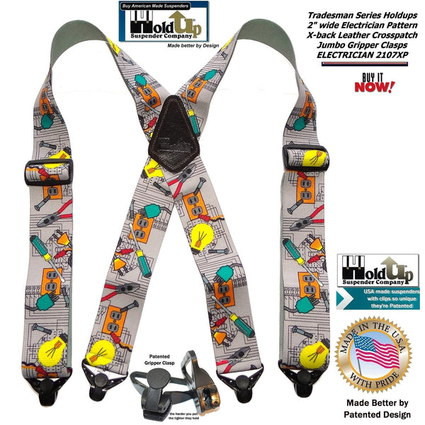 Holdup Brand Electrician Pattern Wide Work Suspenders in Tradesman Series with Patented Jumbo Gripper Clasps