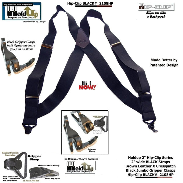 Holdup Brand Black Hip-clip X-back style side clip Suspenders with patented Gripper Clasps