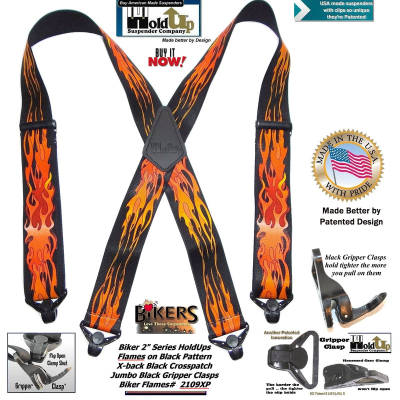 Holdup Biker Series Flame Pattern X-back Suspenders with Patented Jumbo Gripper Clasps