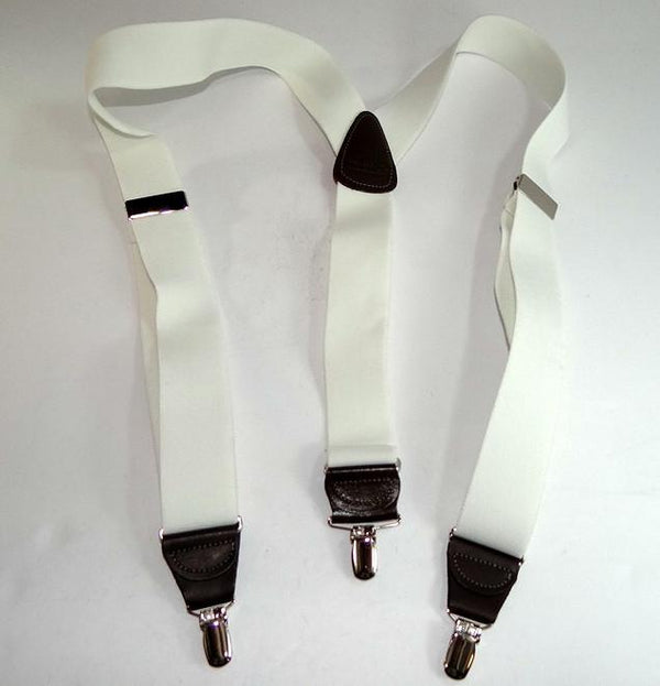"Hold-Ups White, 1 1/2"" wide Casual Series in Y-back style Suspenders with Patented No-slip Gold clips"
