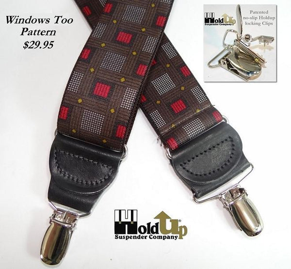 Hold-Ups Windows Too Pattern X-back Designer Series Suspenders with Nickel Chrome No-slip Clips