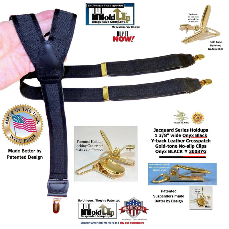 "HoldUp Brand Black ""Onyx"" Jacquard weave Y-back Suspenders with patented No-slip Gold Clips"