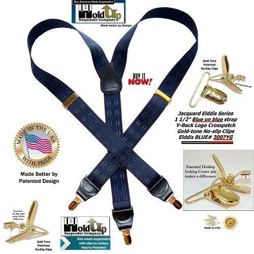 Holdup Elddis Blue diamond pattern Jacquard Series Y-back Suspenders with patented No-slip Gold Clips