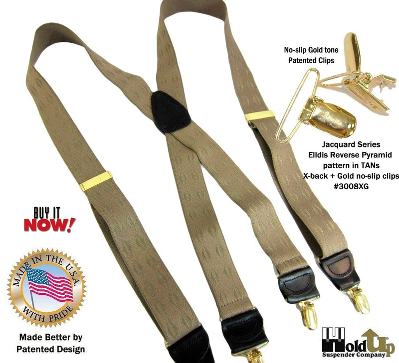 Holdup Jacquard Series Tan on beige reverse Pyramid pattern X-back Suspenders with Patented No-slip gold-tone Clips