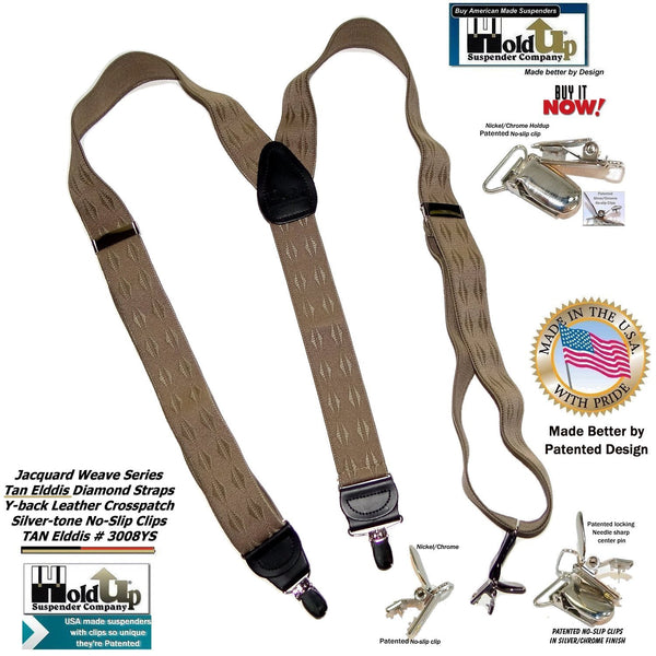 Holdup Tan Elddis Diamond pattern Jacquard weave Y-back Suspender with No-slip Silver Clips