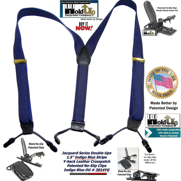 Holdup Brand Indigo Blue Dual-clip Holdup Y-back Suspenders with patented no-slip clips