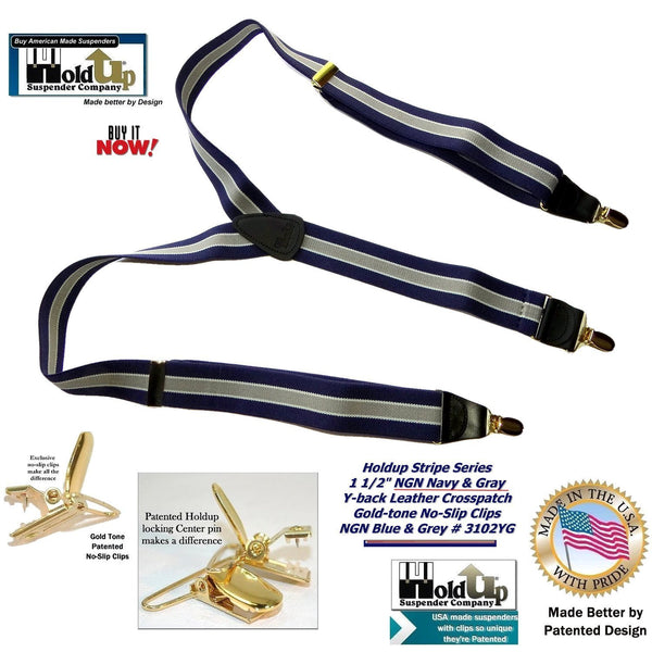 "Hold-Ups Navy & Gray Striped 1 1/2"" wide Suspenders with Y-back style and Patented No-slip Gold Clips"
