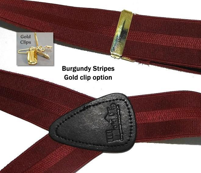 "Hold-Ups Burgundy Stripe Jacquard 1 1/2"" Y-back style and Patented No-slip gold Clips"