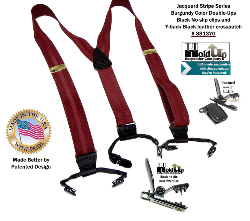 Holdup Brand Rich Burgundy on Burgundy Jacquard Weave Striped Double-up Style Y-back suspenders with Patented No-slip clips