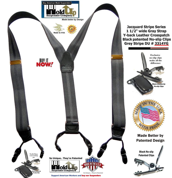 Holdup Gray Stripe Jacquard weave Dual Clip Double-up Suspenders with Patented No-slip Metal Clips