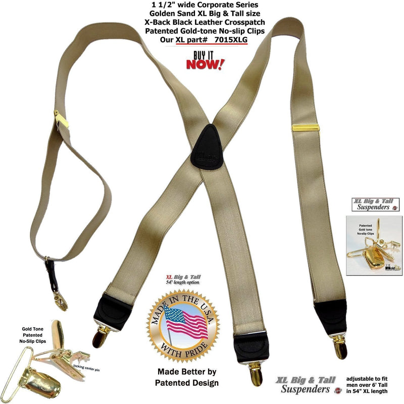 Holdup Corporate Series Golden Sand Satin Finish XL Suspenders with Patented No-slip Gold-tone Clips