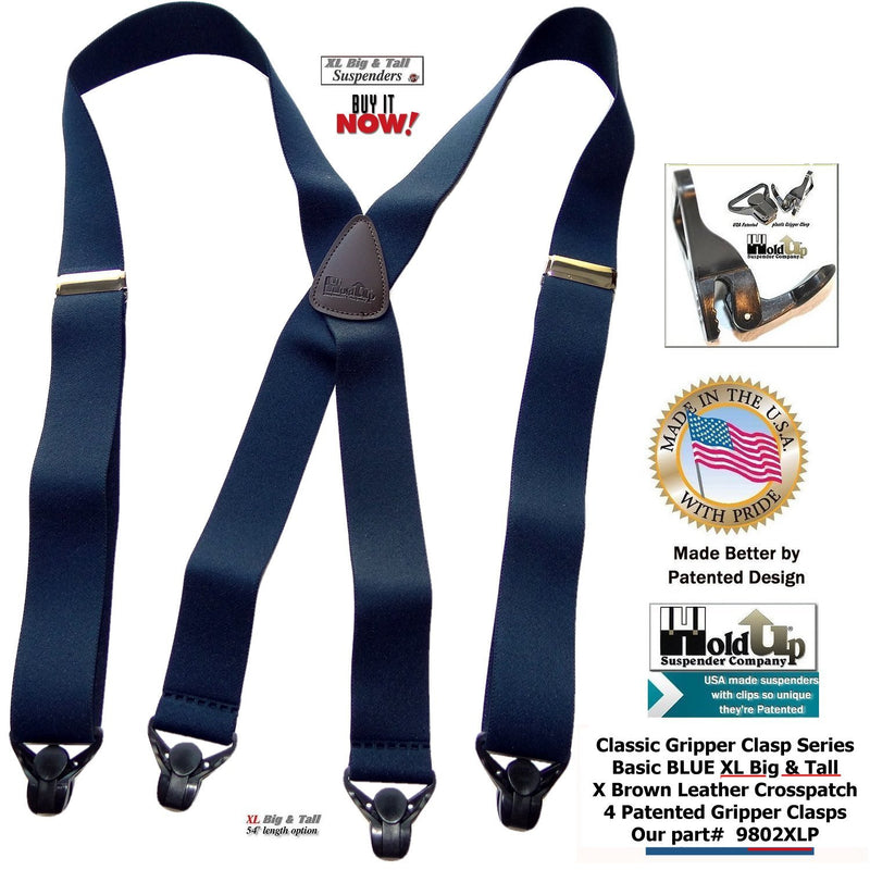 Holdup Brand XL Classic Series Basic Blue X-back Suspenders with Patented black Gripper Clasps