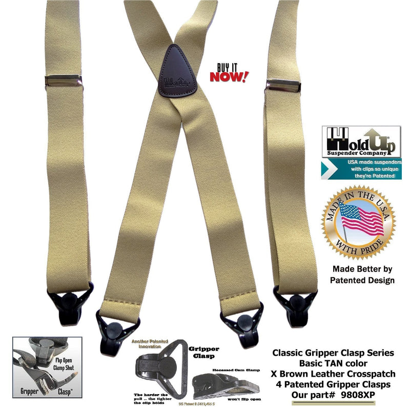 Holdup Brand Classic Series Tan X-back Suspenders With Black Gripper Clasps