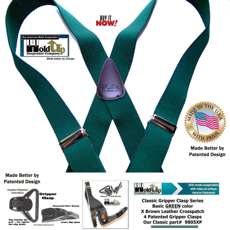 HoldUp Brand Dark Green Xback Classic Series Holdup Gripper Clasps Suspenders
