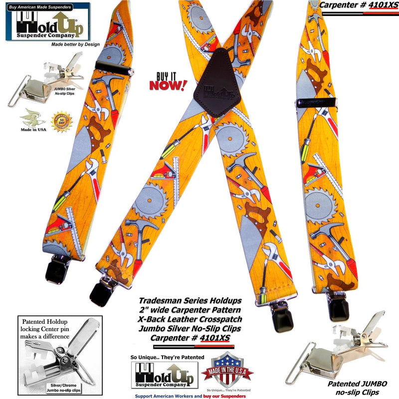 Holdup Tradesman X-back work Suspenders in Carpenter Pattern with Patented Jumbo No-slip Clips