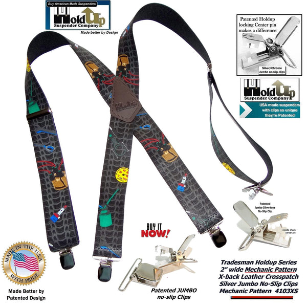 "Hold-Ups Tradesman Series 2"" Wide in Mechanic Pattern Suspenders with Patented No-slip Silver Clips"